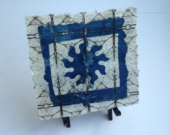 cyanotype on handmade paper, sun print