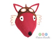Aviator Fox Sewing Pattern Bundle, DIY Felt Animal Head, Plush Faux Taxidermy