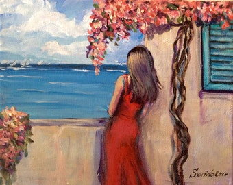 "Woman in red  dress painting south of France original painting 8 x 10"" Free Shipping"