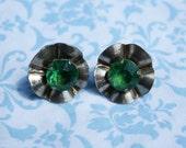 Vintage Sterling Green Rhinestone Flower Earrings