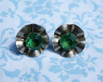 Vintage Sterling Green Rhinestone Flower Earrings