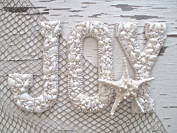 "Large Nautical Shell Letters, ""JOY,"" Wood Wall Decor. Beach Cottage"