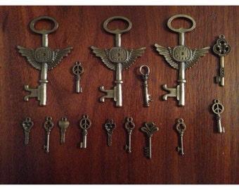 Vintage Looking Bronze Color Set of 11 Keys