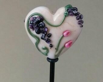 Vineyard Series, One-Of-A-Kind, Grape Lampwork Focal Heart Bead by Roo, FireAndSandStudio