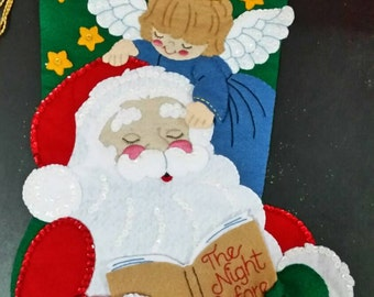 "Christmas Stocking Bucilla  Hand stitched ""Guardian Angel 18"" Stocking"