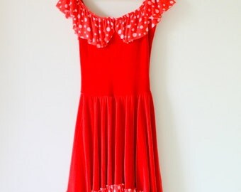 1980s RED POLKA DOTS Dress...dance. wiggle. twirl. fancy. mod. red. polka dots. costume. 1980s dress. retro. bright red lipstick. classic.