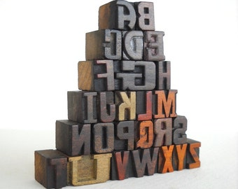 25% OFF - A to Z -26 Vintage Letterpress Wooden Letters Collection - Mini Series - VM004