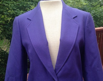 Lavender Periwinkle Cropped Blazer. Wool Blend Suit Coat. Women's Jacket. Office or Fall Wear.