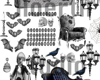 Hallloween Ephemera printable collage scrapbook  gothic Dracula collage sheet with coffin and haunting victorian furniture Clip art