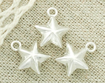 4 of 925 Sterling Silver Star Charms 10 mm. :th2204
