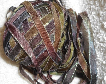 4 Yards WOODLANDS With Iridescent Edging Hand Dyed Ribbon