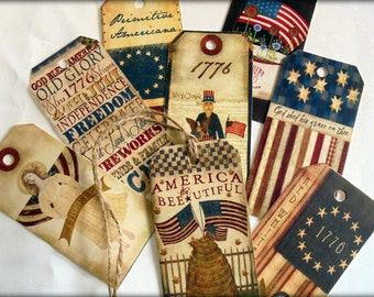 Set of 8 Primitive Americana 4th July Gift Tags With Jute String