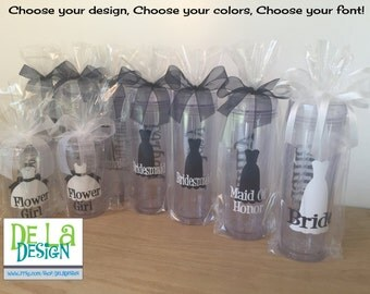 Quantity 16 Bridal Party gift Personalized acrylic tumbler w/ lid and straw, Bride, Bridesmaid dress design, 16 or 32 oz, other styles/sizes