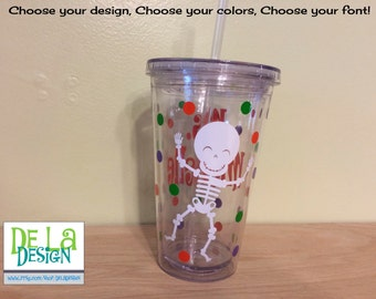 Halloween Skeleton, Personalized w/name acrylic tumbler, polka dots, Available in skinny, standard, sport bottle, mason, kiddie cup & XL cup
