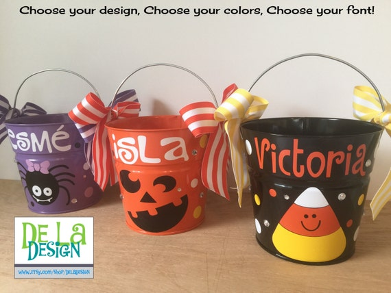 Halloween bucket: Personalized halloween trick or treat metal bucket, candy bag, 2 quart toddler size pail, lots of designs and colors