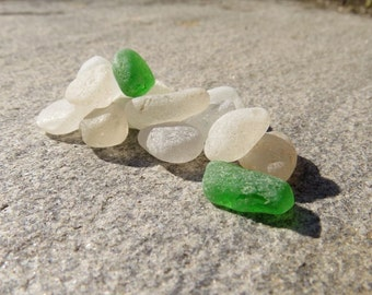 Small Grade A Sea Glass Mix, Jewelry Frosted, Genuine Seaglass, Green White Pastel, Maine Beach, Cottage Decor, Natural Beach Glass