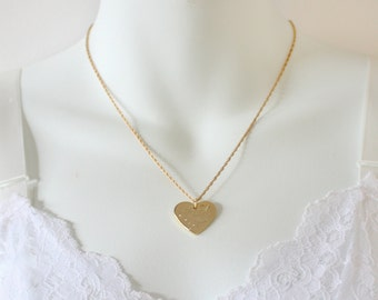 SALE 10 PERCENT OFF Vintage Signed Avon Gold Tone Wheat Chain I Love You Grandmother Heart Scroll Pendant Princess Length Necklace