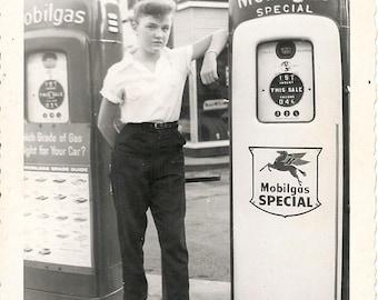 Vintage 1950's Girl by vintage antique gas pump  DIGITAL DOWNLOAD
