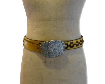Vintage boho southwestern yellow leather and brown suede weave belt, statement silver cowboy buckle.