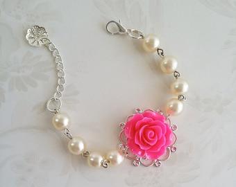 Fuchsia Bracelet Hot pink Flower Bracelet Ivory Pearl Bracelet Pink Flower girl gift pink rose bracelet Flower Girl Bracelet Thank you card