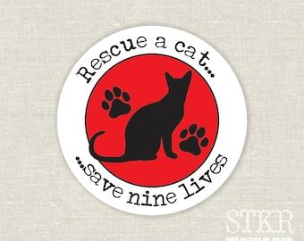 rescue a cat save nine lives bumper sticker