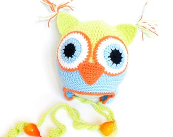 Crochet baby hat, crocheted baby owl hat, hat with earflaps, crocheted winter hat, READY TO SHIP