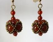 Beaded Bead Earrings of Carnelian Stones, Deep Red Rust, Bronze, Jewelry, Beaded, Gift, Holiday E3227 Amy Johnson