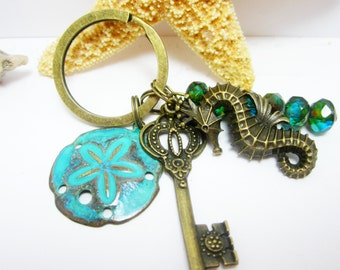 Beachy Keychain Patina Green Sand Dollar Charm Large Sea Horse Bronze Key Ocean Themed Key Chain Picasso Czech Rondelles