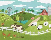 Animals On The Farm - Stretched Canvas Wall Art for Kids