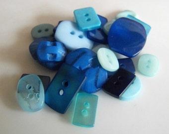 25 Blue Rectangle Buttons - Grab Bag