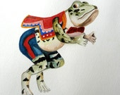 Original Watercolor Carousel Frog Carousel Art Childs Room Decor