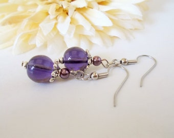 Purple Pearl Earrings, Lavender Earrings, Purple Drop Earrings, Lilac Wedding Bridesmaids Earrings Bridal Gift for Her, Clip On Earrings