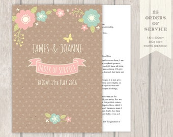"""25 - 100 """"Floral"""" Wedding Orders of Service"""