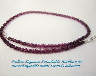 Shop CLOSING SALE, Transparent Deep Amethyst Farfalle Interchangeable Multi Strand Necklace dark purple peanut bead small bead multi wear