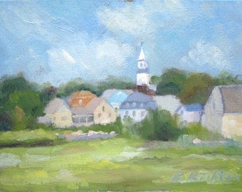 Town of Essex - original 6x8 small landscape oil painting by Keiko Richter