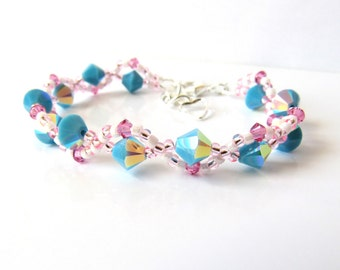 Childrens Crystal Bracelet, Turquoise & Pink Bracelet, Kids Jewelry, Flower Girl Gift, Childrens Jewelry, Adjustable Bracelet, Gift for Girl