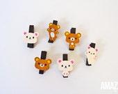 12 pk Rilakkuma Bear wooden clips