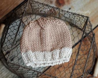 Tan Baby Hat, Tan Newborn Beanie, Boy Photo Prop, Boy Beanie Hat, Neutral Props, Neutral Boy Hat, Brown Baby Hat, Brown Newborn Hat