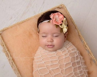 Peach Baby Headband, Baby Photo Prop, Peach Newborn Headband, Infant Headband, Small Baby Headband, Creme Newborn Headband, Baby Prop