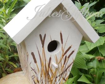 Bird House Handmade & Hand Painted Cattails