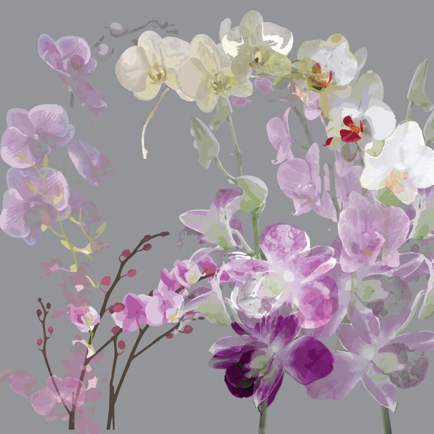 Watercolor orchids clip art purple digital flowers high - High resolution watercolor flowers ...