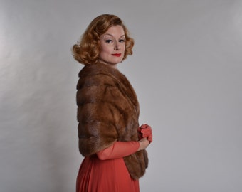 Vintage 1950s Mink Fur Stole - GEH Autumn Haze - Winter Bridal Fashions