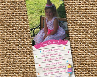 Ice Cream Thank You Card, Photo Thank You, Ice Cream Thank You, Printable Thank You, Ice Cream Birthday, Ice Cream Party, Kids Thank You