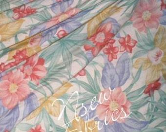 TROPICAL Floral Fabric Hawaiian FLOWER Soft Rayon Pastel - 3 Yards
