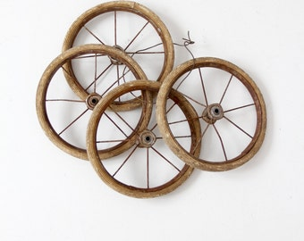 vintage carriage wheels set of 4, small spoke wheels