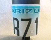"Bicycle handlebar Drink Holder, ""Cruizie"" made from expired AZ license plate"