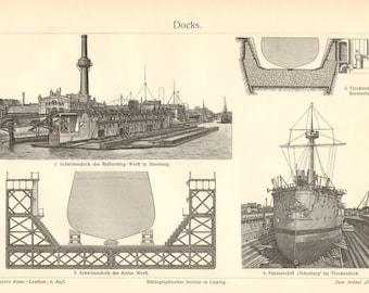 1903 Floating Docks and Dry Docks Vintage Engraving Print