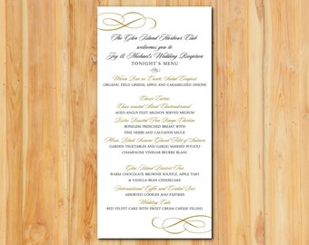 Gold Shimmer Wedding Menu 50qty, Elegant Swirls Wedding Event Reception Menu, Personalized Wedding Table Setting Custom Designed