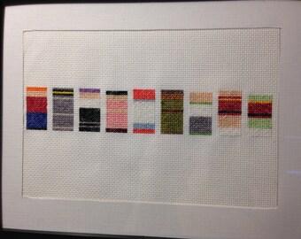 Futurama minimalist sprites - framed cross stitch