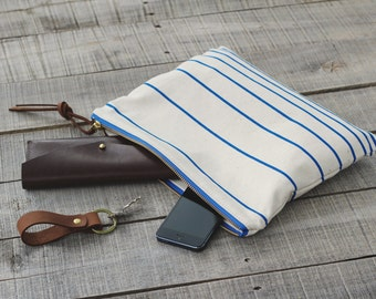 The Traveler's Clutch //  NEON OCEAN // Unbleached Canvas and Neon Blue Stripes // Beach Bag // Makeup Bag // Toiletry Pouch